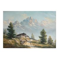 Grugger Signed Oil Painting on canvas, Alpine Landscape with chalet, c1940