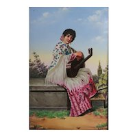 Pickman Gran Medalla Painting on Porcelain plaque, Young woman holding guitar