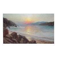 Richard Dey De Ribcowsky (1880 - 1936) Oil Painting California coastal sunset