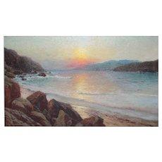 Richard Dey De Ribcowsky (1880 - 1936) Oil Painting California coastal sunset
