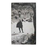 James Jacques Joseph Tissot (French 1836-1902) Etching Le croquet signed