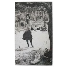 James Jacques Joseph Tissot (French 1836-1902) Etching Le croquet signed