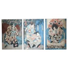 Utagawa Kunisada Toyokuni III Woodblock Print Triptych of actors 19th century
