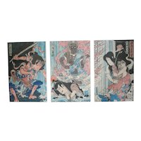 Toyohara Kunichika (1835 -1900) Japanese Woodblock Print, triptych 19th century