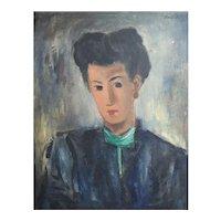 Boris Deutsch (Russian 1892-1978) Oil Painting on canvas, Portrait of woman 1946