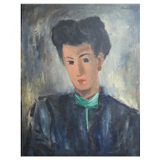 Boris Deutsch (Russian 1892-1978) Oil Painting on canvas, Portrait of woman 1946