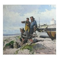 Christian Valentinusen (Danish 1903-1985) Oil painting Seascape with Fishermen