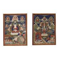 19th century Pair Tibetan Thangka Ground Mineral Pigments on Cotton Varjrayana