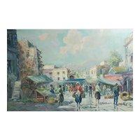 Jilipigni Oil painting, Italian Cityscape Scene from a marketplace c1960