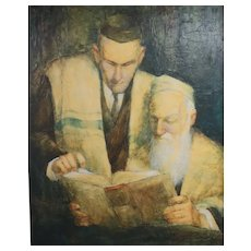 W Cortland Butterfield (1904 - 1977) Oil painting Portrait of rabbi and scholar