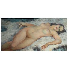 Leo Fontan (French 1884 - 1965) Oil painting, c1940 nude woman reclining