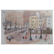 Charles Levier (French 1920-2003) Gouache Painting on paper, cityscape, signed