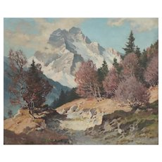 Josef Sussmeier (YOS) (German, 1896-1971) Oil Painting Alpine landscape