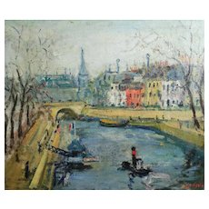 Arbit Blatas (Lithuanian 1908-1999) Impressionist Oil Painting French cityscape
