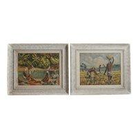 Werner Anton Jaegerhuber 1900 - 1953 Pair of oil paintings Haitian scenes