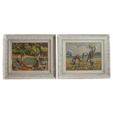 Werner Anton Jaegerhuber 1900 - 1953 Pair of oil paintings Haitian scenes