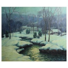 George Jensen American 1878 - 1977 Oil painting c1930 Moonlit Stream Catskill Mt
