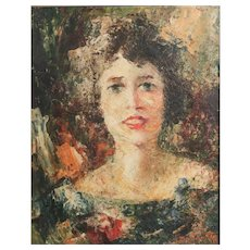 Portrait of woman, Mid century oil painting on board, signed