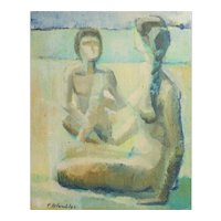 Pierre Colombier (1896 - 1958) Oil Painting Seated Nude Figures