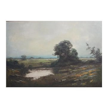 Kenneth Newell Avery (American 1882 - 1949) Oil painting landscape with pond