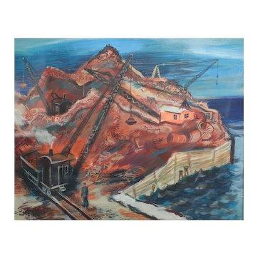 Sydney Glen Fossum (American 1909 - 1978) Gouache painting industrial landscape