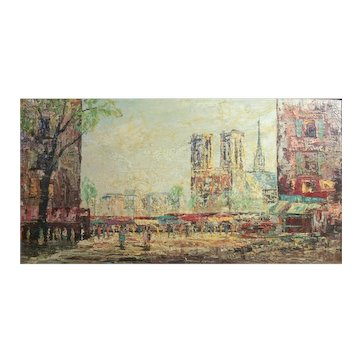 Andre Boyer (French 1909 - 1981) Oil painting, Paris Street scene w/ Notre Dame