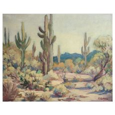 Manfred Hausman German 1892-1955 Oil painting desert landscape Apache Junction