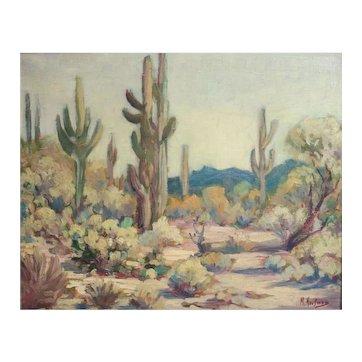 Manfred Hausman German 1892-1955 Oil painting desert landscape Apache Junction