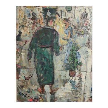 Pascal (Pat) Cucaro (1915 - 2004) Oil painting Interior festive scene, signed