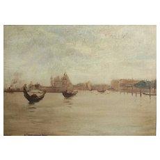 Arnaldo Casella Tamburini Jr. American 1885-1936 Oil painting Venice Grand Canal