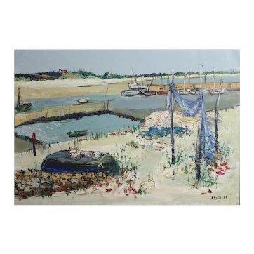 Yolande Ardissone (France 1927-) Oil painting on canvas, harbor and sandy beach