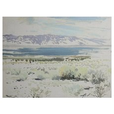 James Swinnerton California 1875-1974 Oil Painting Field Sketch desert landscape