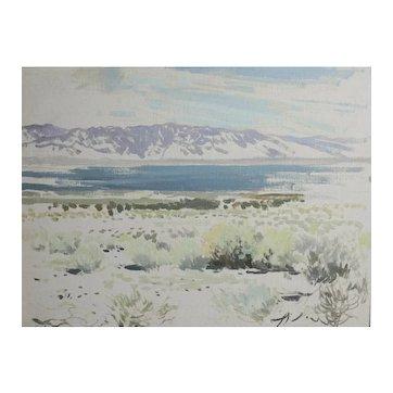 James Swinnerton California 1875-1974 Oil Painting Field Sketch desert landscape