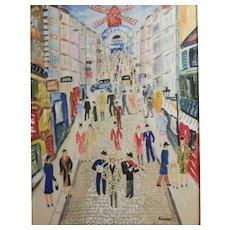 Albert J. Kramer (American 1908 - 1991) Gouache Painting Parisian street scene