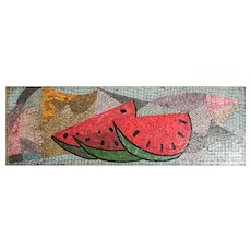 Framed Mid Century Modern Glass Mosaic Wall Panel Watermelon