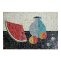Mid Century Modern Glass Mosaic Wall Panel Still Life Watermelon