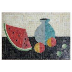 Mid Century Modern Glass Mosaic Wall Panel Still Life Watermelon