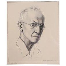 "Zanna (Lovisanna) Anderson  (American 1917 - 1955) Pencil Drawing Portrait ""An Artist"""