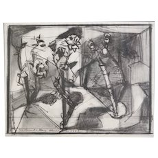 William Brice (1921 - 2008) Graphite and Ink drawing on paper, Abstract work