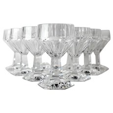10pc Val St Lambert GARDENIA White Wine Glasses Cut Crystal