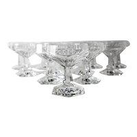 12pc Val St Lambert GARDENIA Champagne Martini Sherbet Glasses Cut Crystal