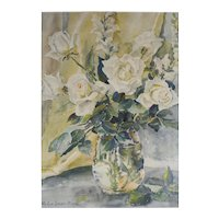 Helen Lane Bower Watercolor painting Floral still life, white roses