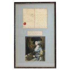 Mrs. Sarah Siddons Framed Autographed inscribed letter dated 1813
