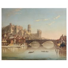 19th century Oil Painting Durham Cathedral