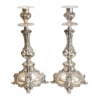Temple Sized Sterling Silver Sabbath Candlesticks  155ozt
