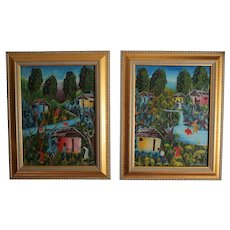 Pair of signed Blanchard Acrylic Paintings Haitian Village in Tropical Landscape