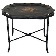 Vintage Chinese Tea Tray bamboo style legs tole painted metal tray floral