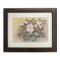 Walter Earl Bradway Watercolor painting of white roses signed