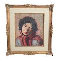 Rose E Kaufman Feinblatt Oil painting portrait young woman w/ scarf