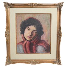 Rose E Kaufman Feinblatt Oil painting portrait young woman w/ scarf